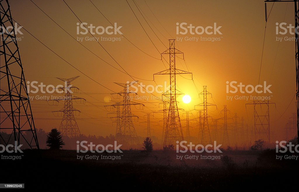 Hydro towers at sunset royalty-free stock photo