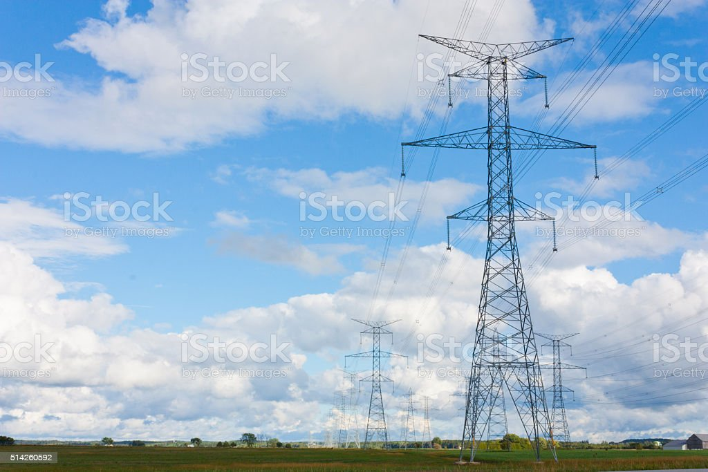 Hydro towers in Bruce County Ontario stock photo
