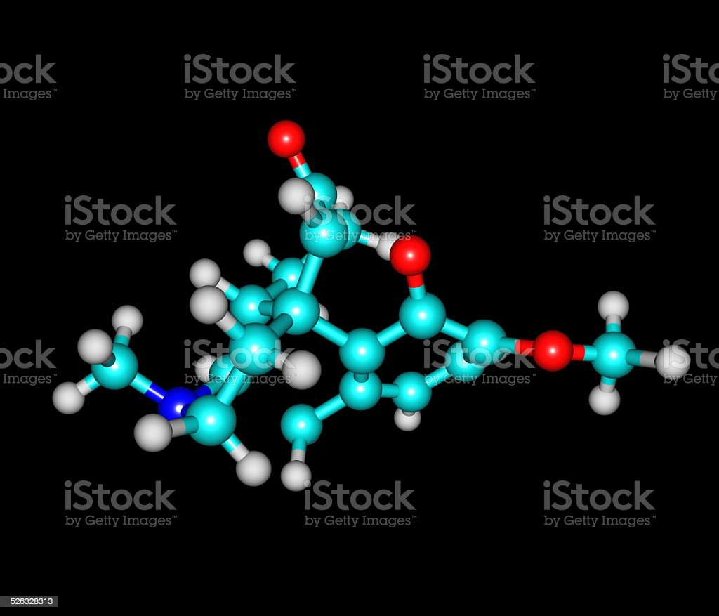 Hydrocodone molecule isolated on black stock photo