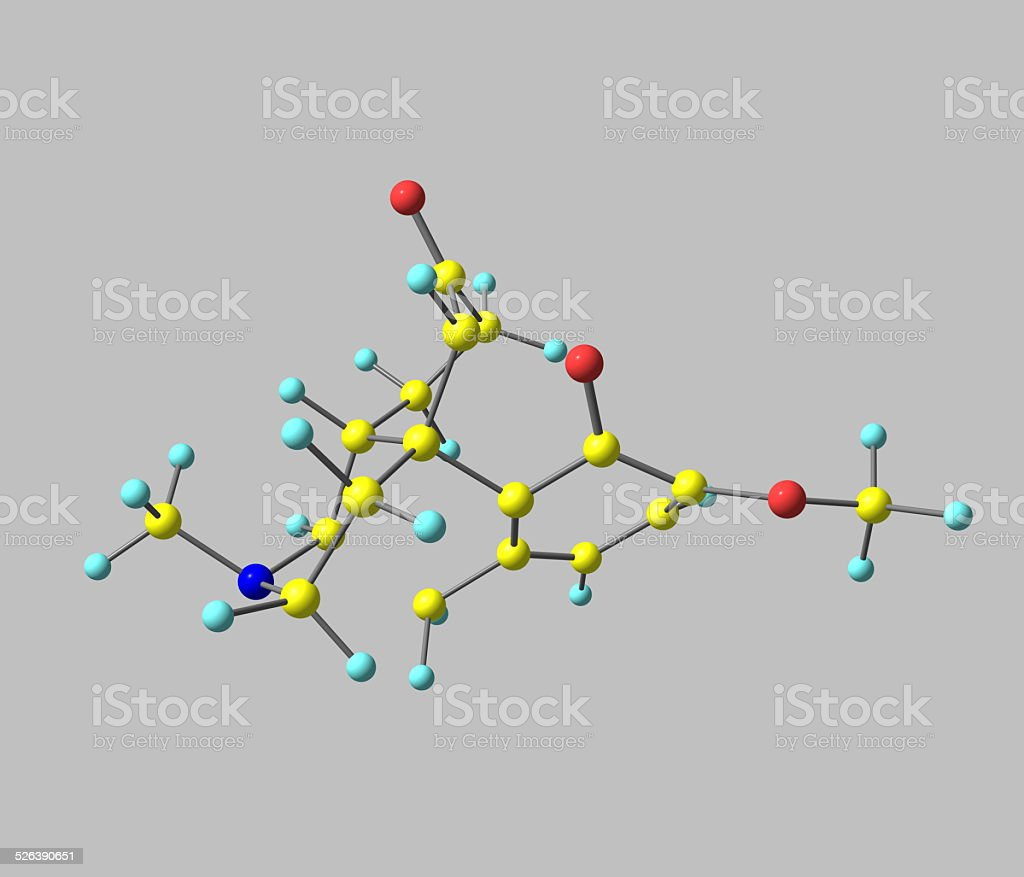 Hydrocodone molecule isolated on grey stock photo