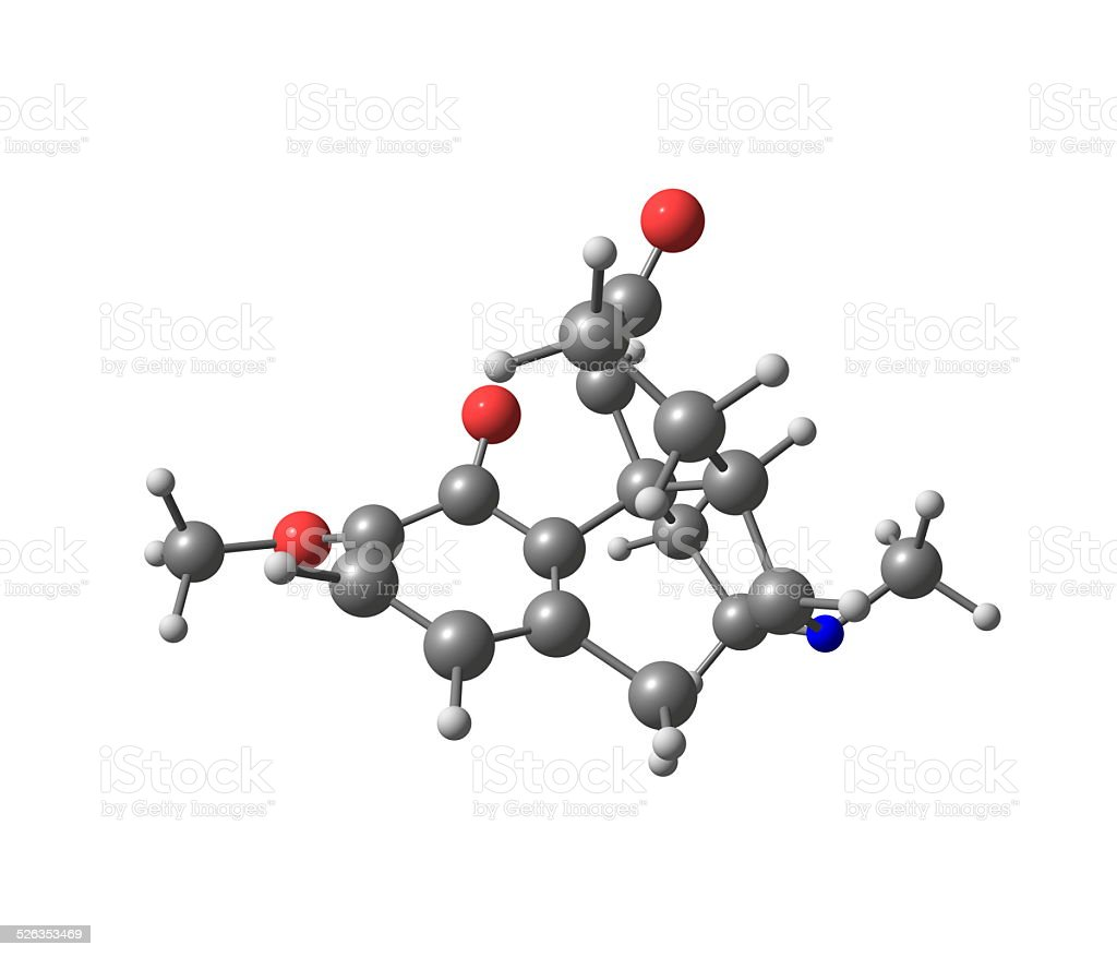 Hydrocodone molecule isolated on white stock photo