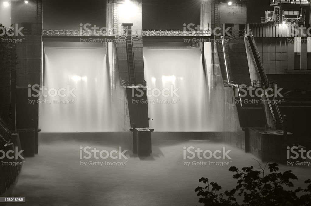 Hydroelectric Dam at night royalty-free stock photo
