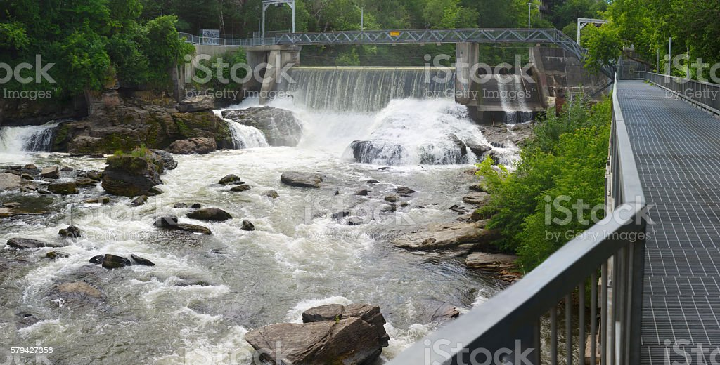 hydroelectric dam on river waterfalls, power plant stock photo
