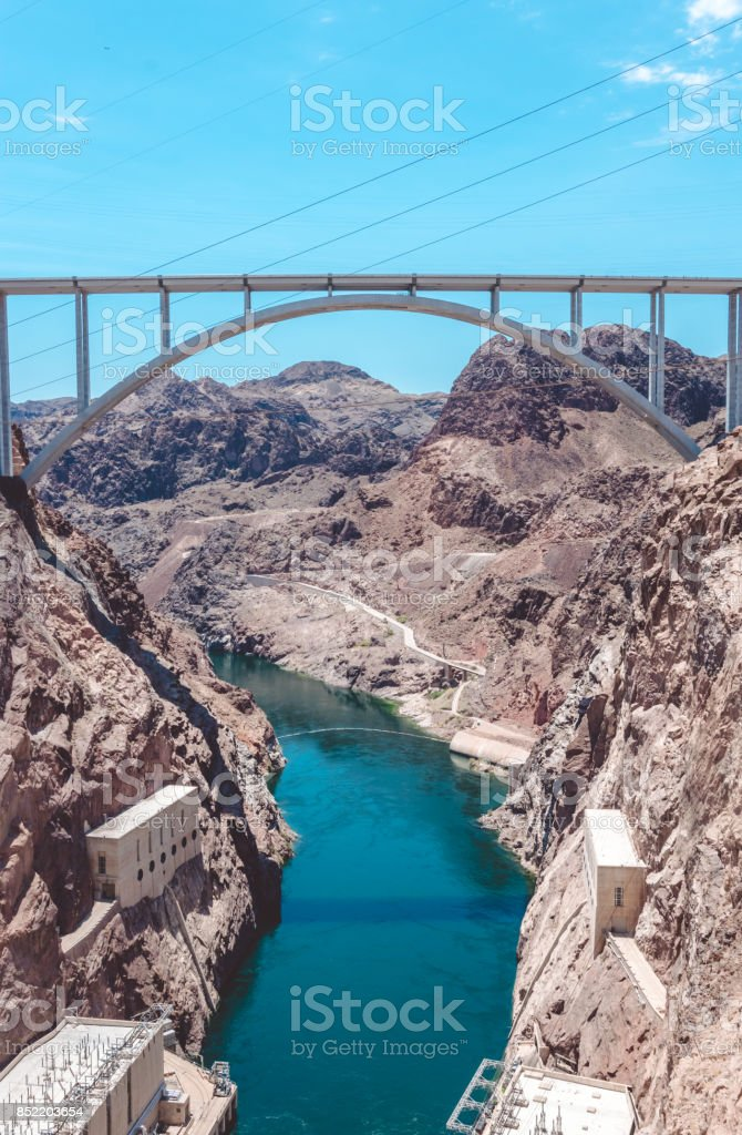 Hydroelectric plant on the Colorado River. Hoover Dam, Boulder City stock photo