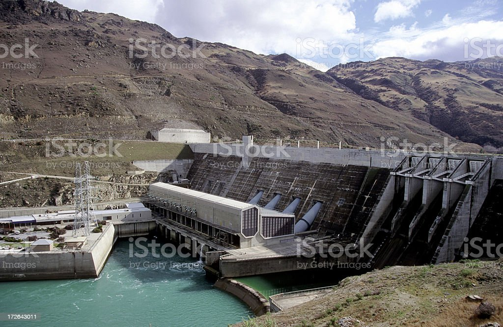 Hydroelectric power station nz stock photo