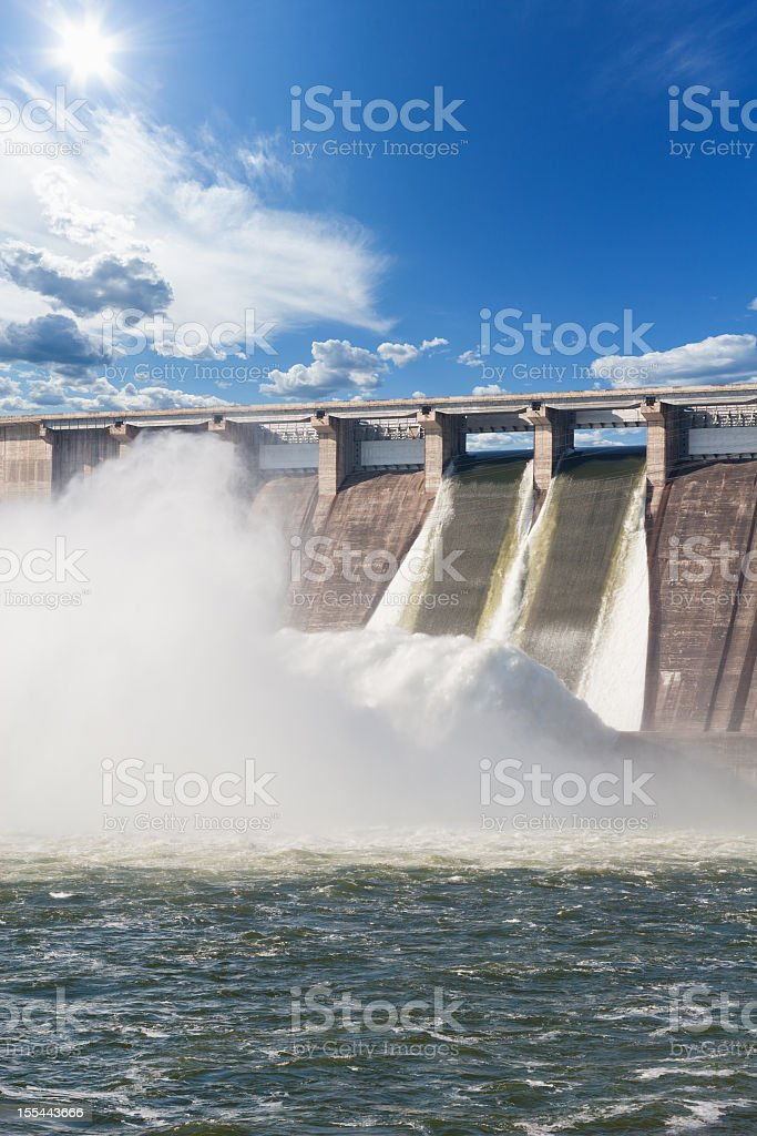 A hydroelectric power station with flowing water stock photo