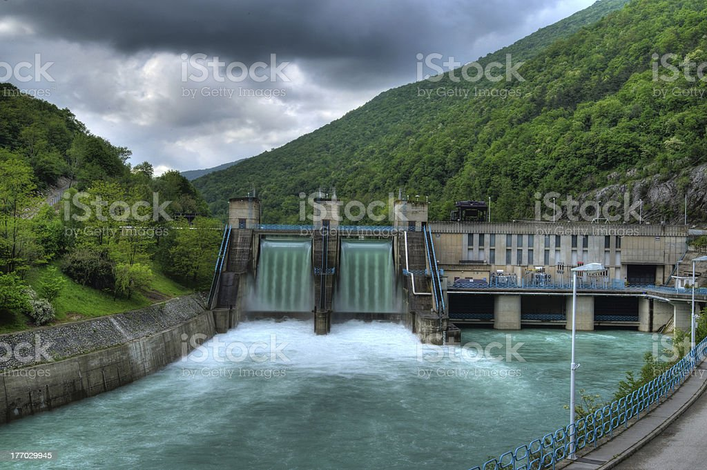 Hydroelectric powerplant stock photo
