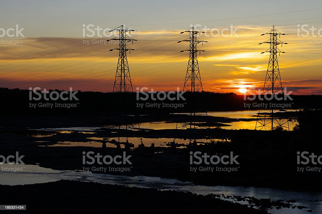 Hydroelectric Transmission Towers royalty-free stock photo