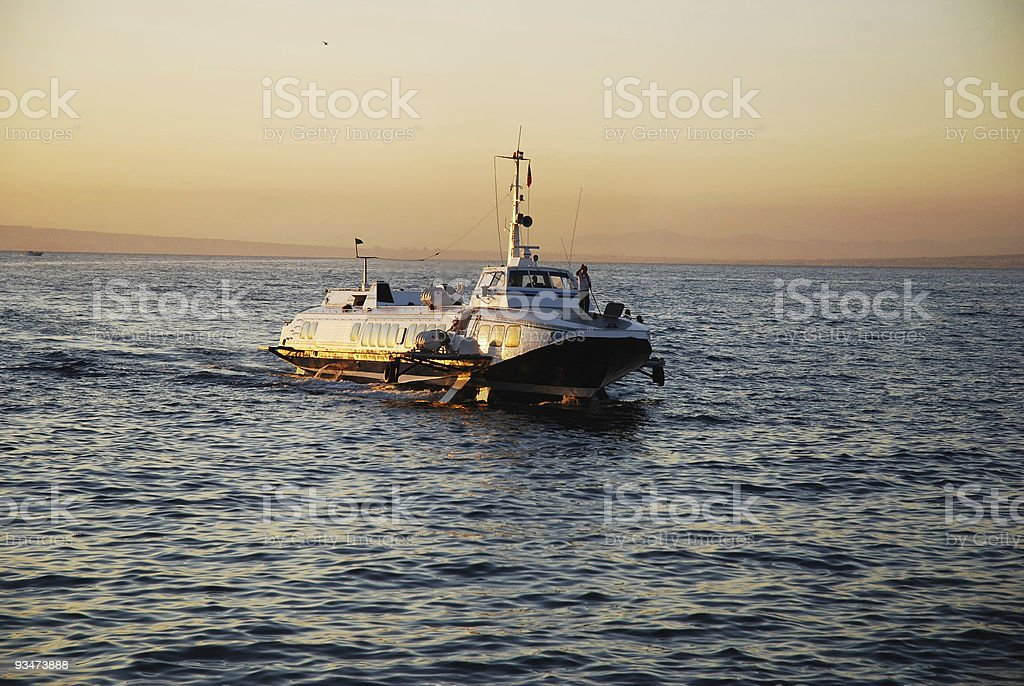 Hydrofoil at Sunset, Transport, Sea stock photo