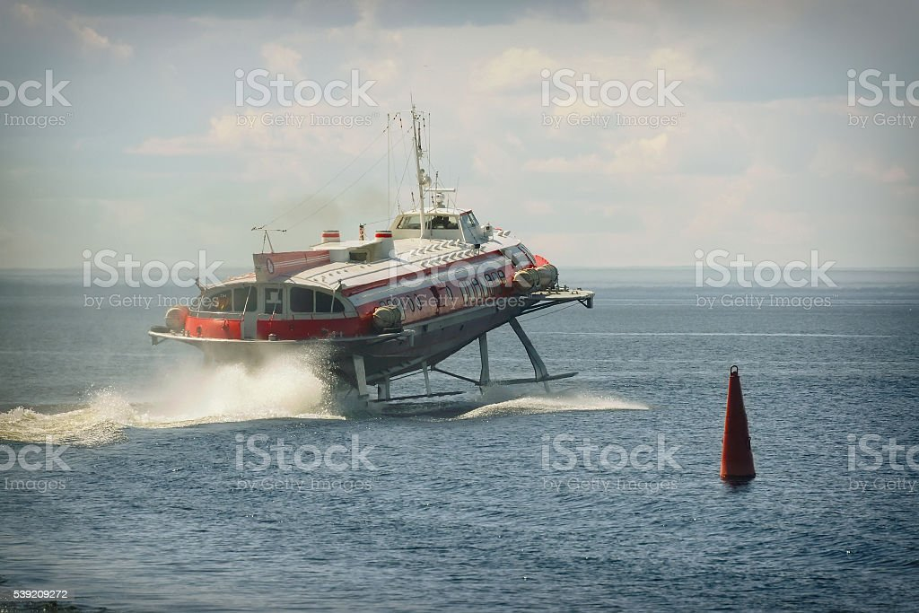 hydrofoil boat on water stock photo