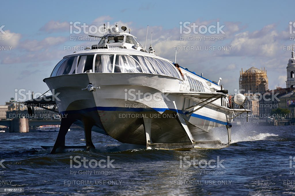 Hydrofoil in St. Petersburg, Russia stock photo