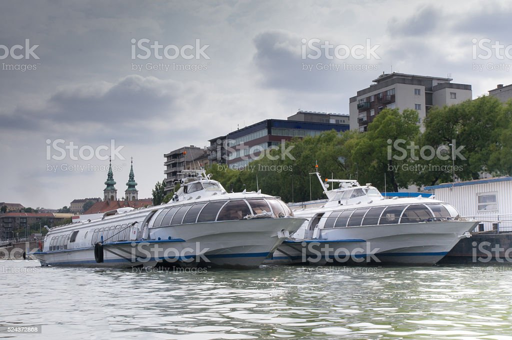 Hydrofoil in the Harbor of Budapest stock photo