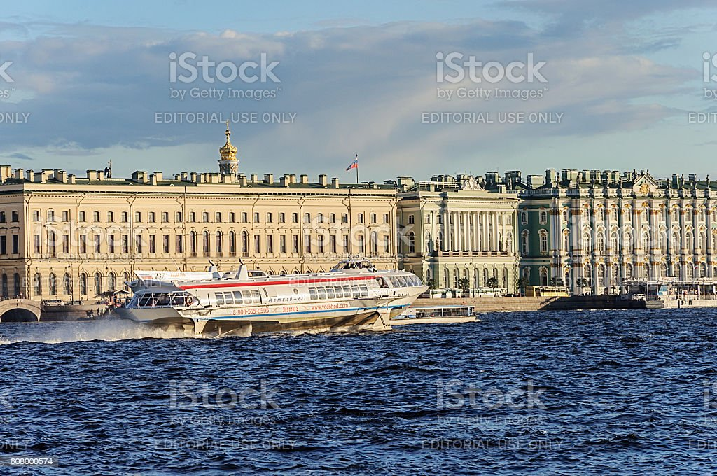 Hydrofoil 'Meteor' on the Neva river in St. Petersburg stock photo