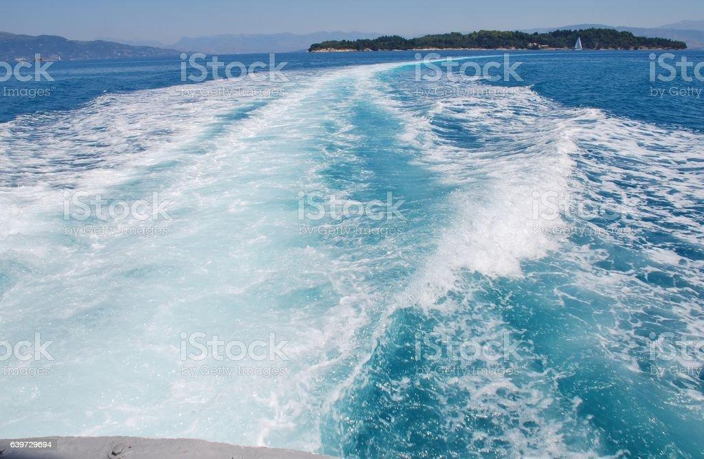 Hydrofoil wake, Corfu stock photo