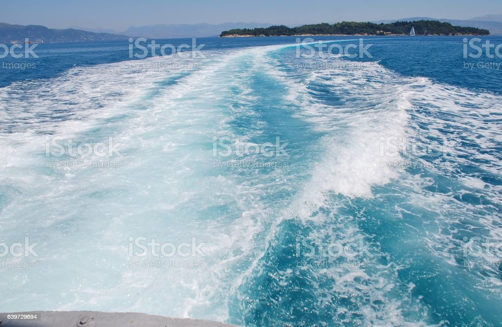 Hydrofoil wake, Corfu stock photo