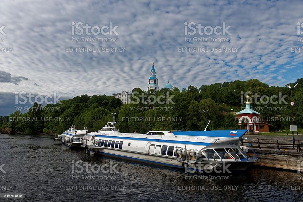 Hydrofoils at Valaam island, Russia stock photo