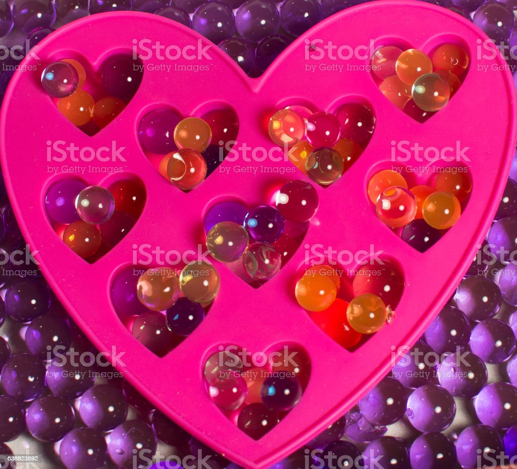 hydrogel colored balls, decorative heart stock photo