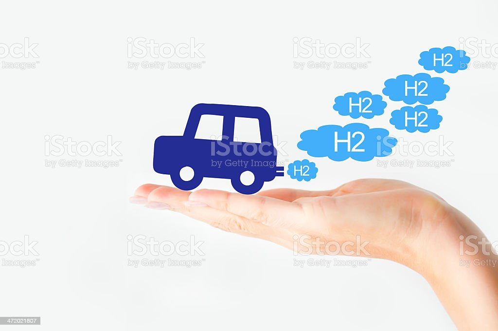 Hydrogen car concept stock photo