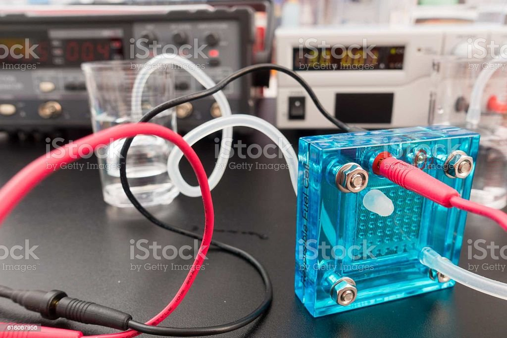Hydrogen fuel cell, A fuel cell is a device stock photo