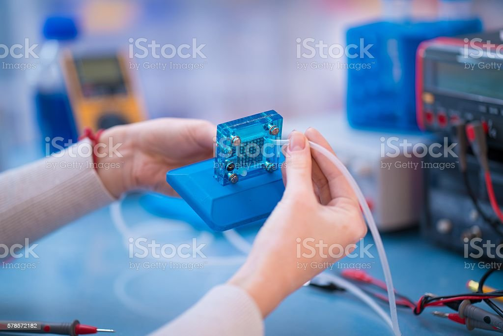 Hydrogen fuel cell tested stock photo