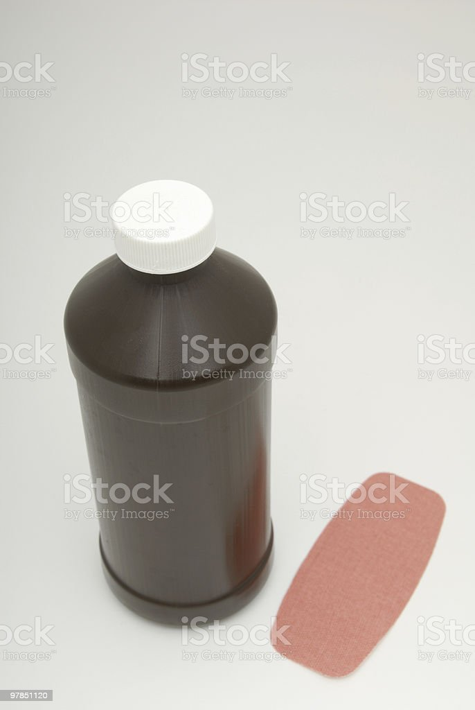 Hydrogen Peroxide and Bandage stock photo
