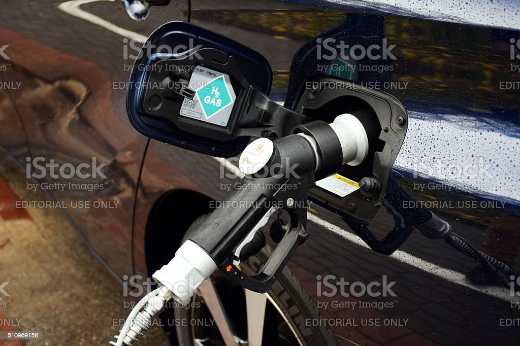 Hydrogen refueling on the hydrogen filling station stock photo