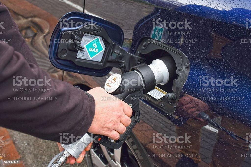 Hydrogen refueling on the hydrogen filling station stock photo