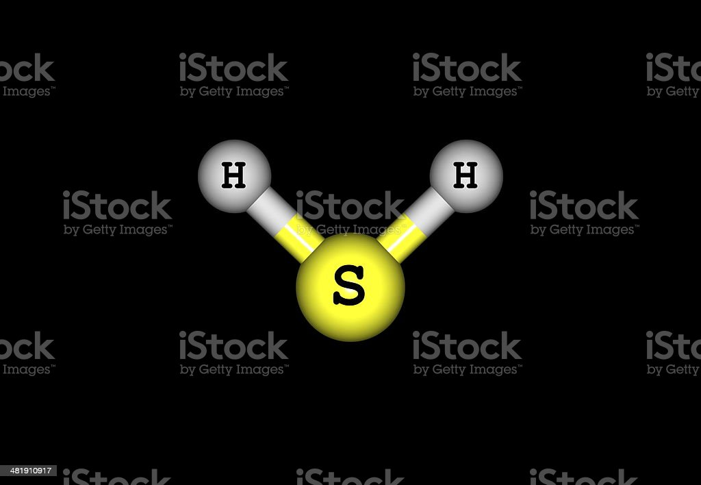 Hydrogen sulfide molecular structure isolated on black stock photo