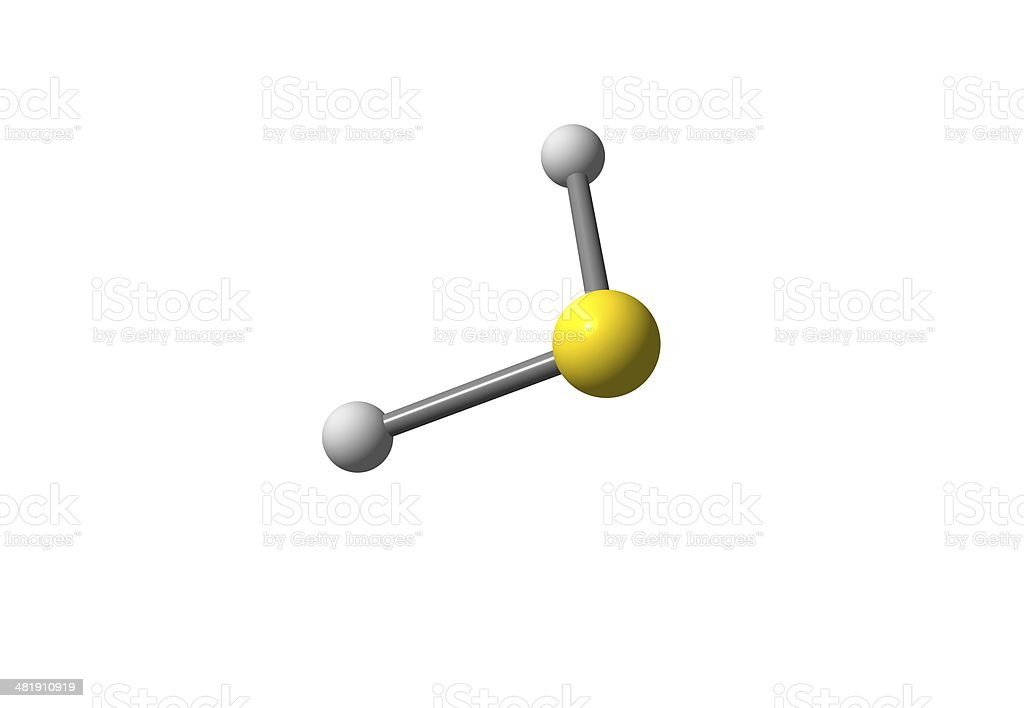 Hydrogen sulfide molecular structure isolated on white stock photo