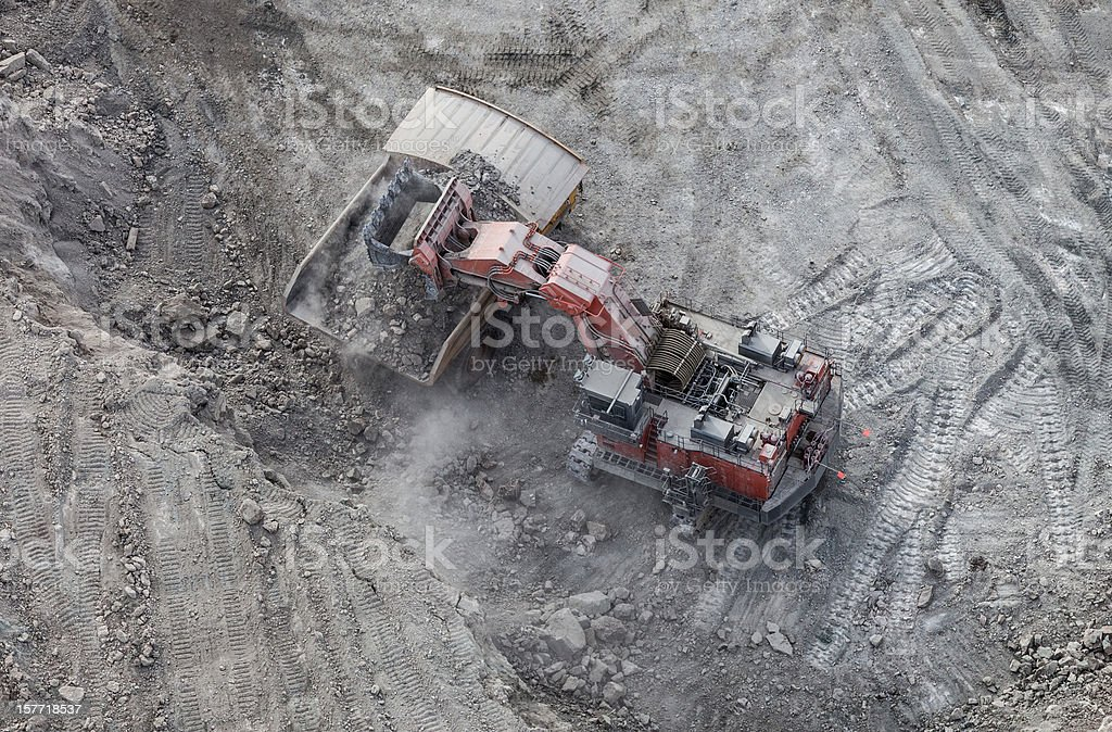 Hydrolic Mining Excavator, Aerial Photo royalty-free stock photo
