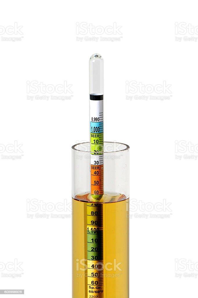 Hydrometer in Homebrew stock photo