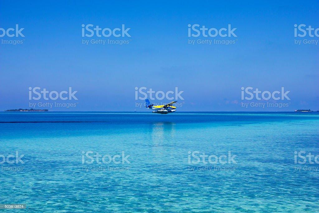 Hydroplane in the Maldives, North Ari Atolls stock photo