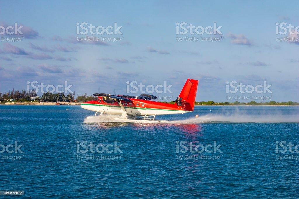 Hydroplane in the Maldives stock photo