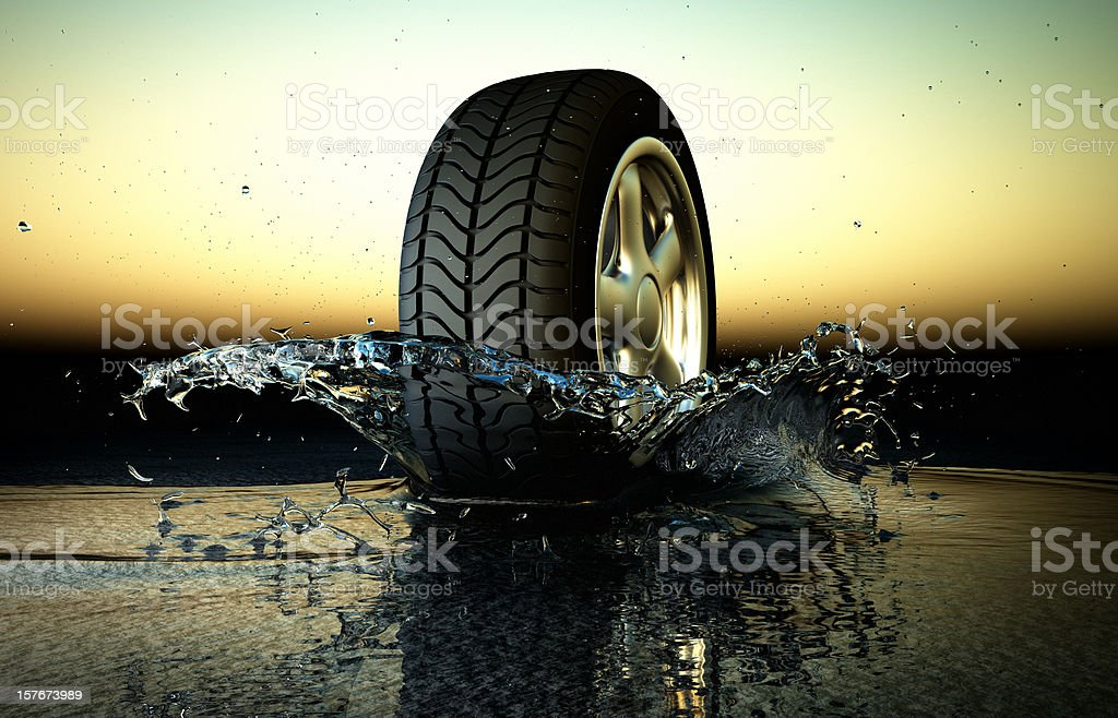 Hydroplaning, Aquaplaning Concept stock photo