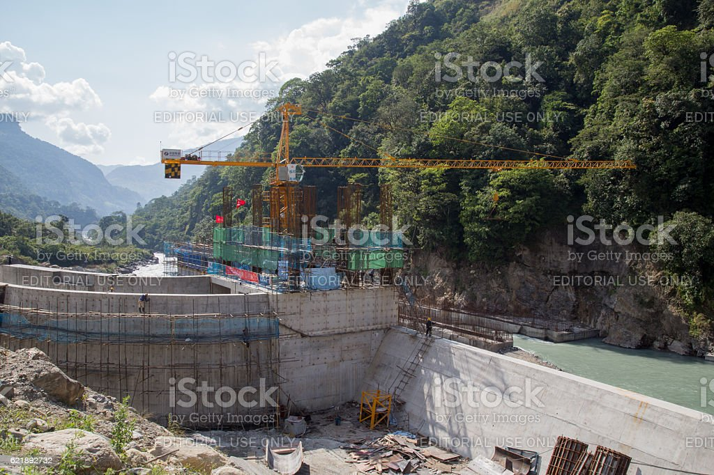 Hydropower plant construction site, Annapurna Region stock photo