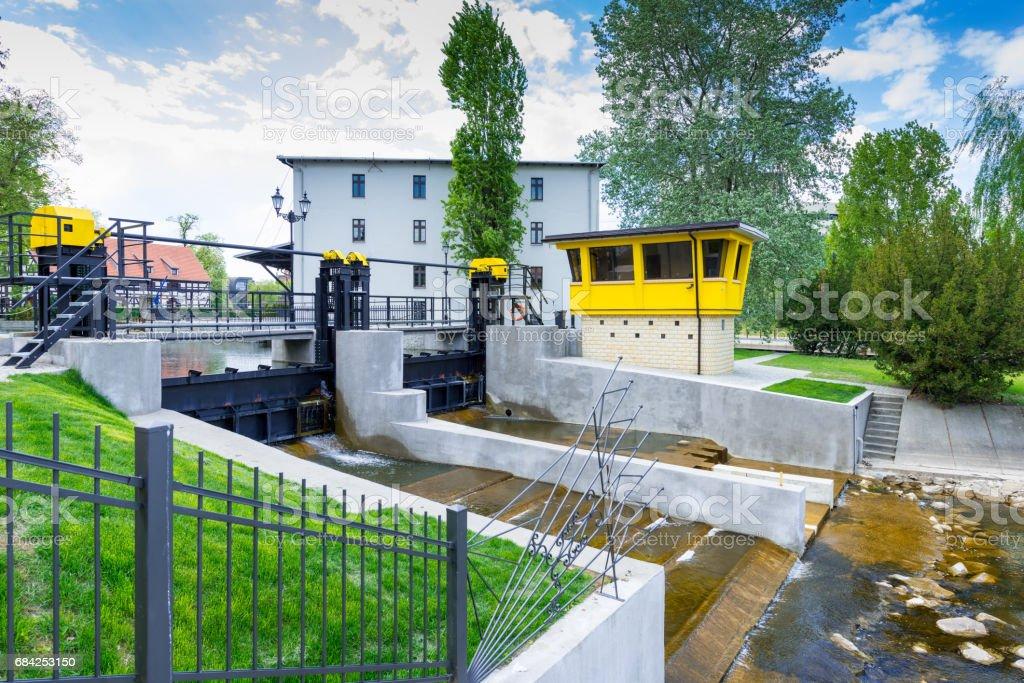 Hydropower plant 'Kujawska' - small hydroelectric power station at Brda river, Bydgoszcz, Poland stock photo