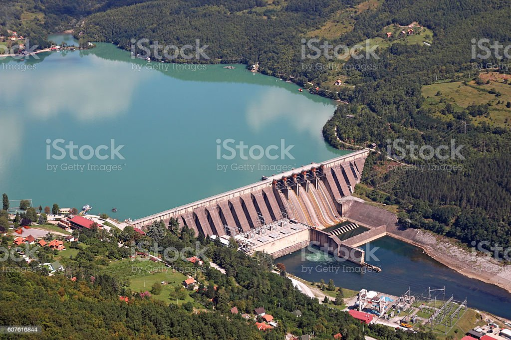 hydropower plants on Drina river stock photo
