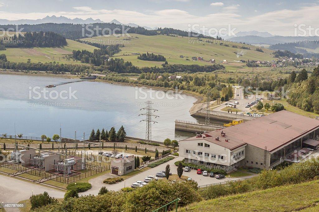 Hydropower station on Czorsztynski lake - Czorsztyn, Poland. stock photo