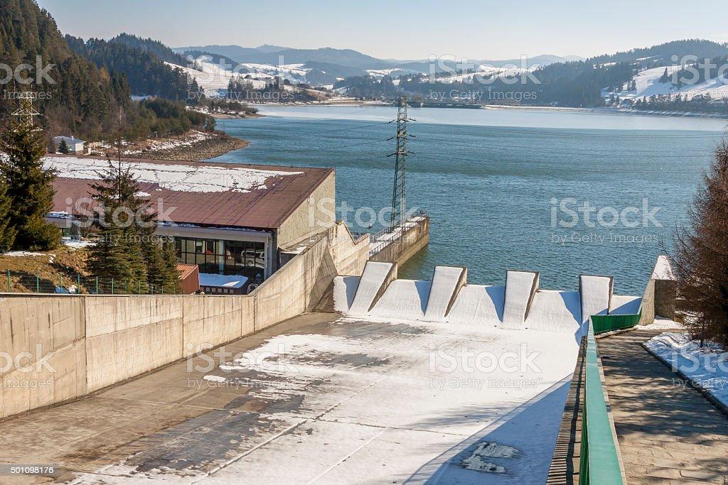 Hydropower station on Czorsztynski lake. Czorsztyn, Poland. stock photo
