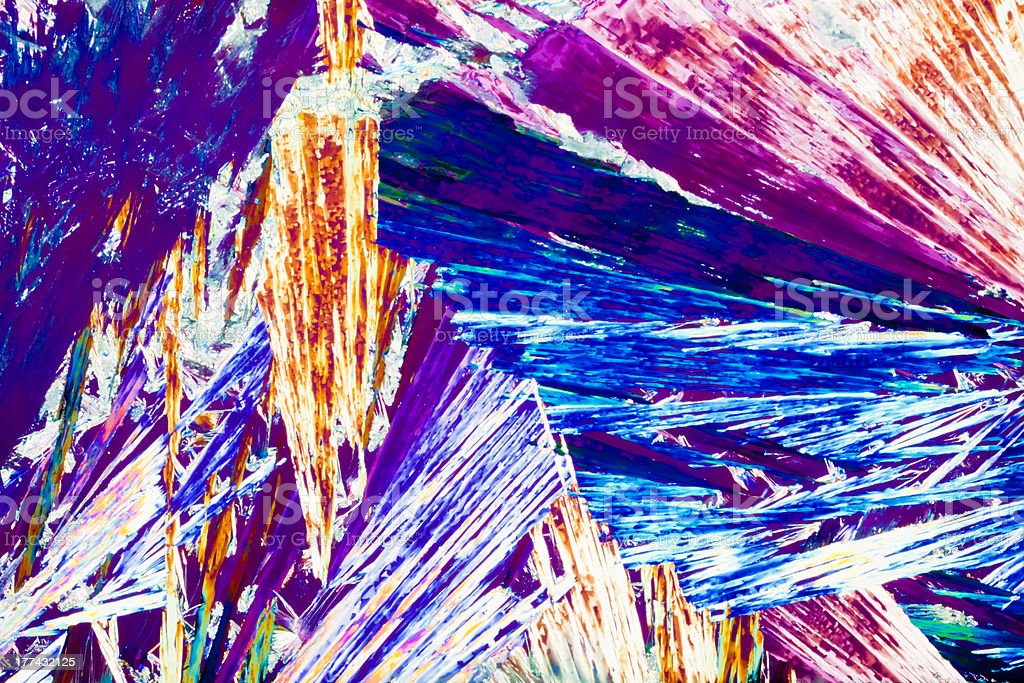 Hydroquinone crystals in polarized light royalty-free stock photo