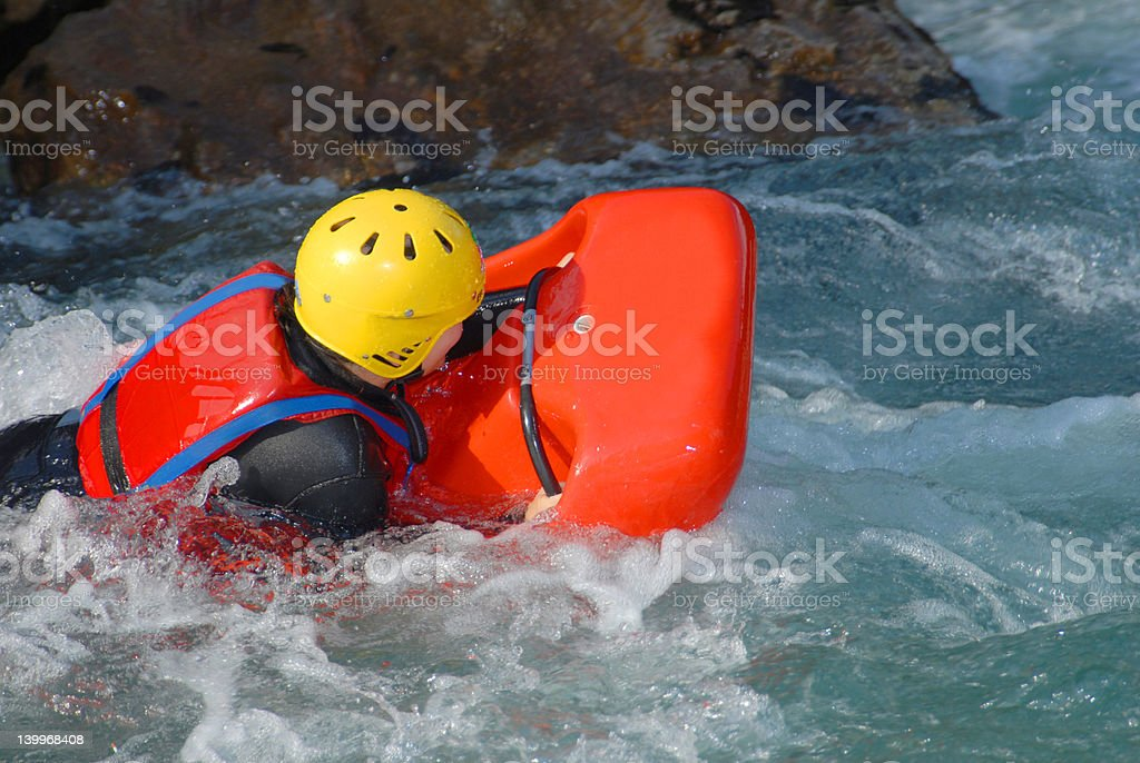 Hydrospeed on a river stock photo