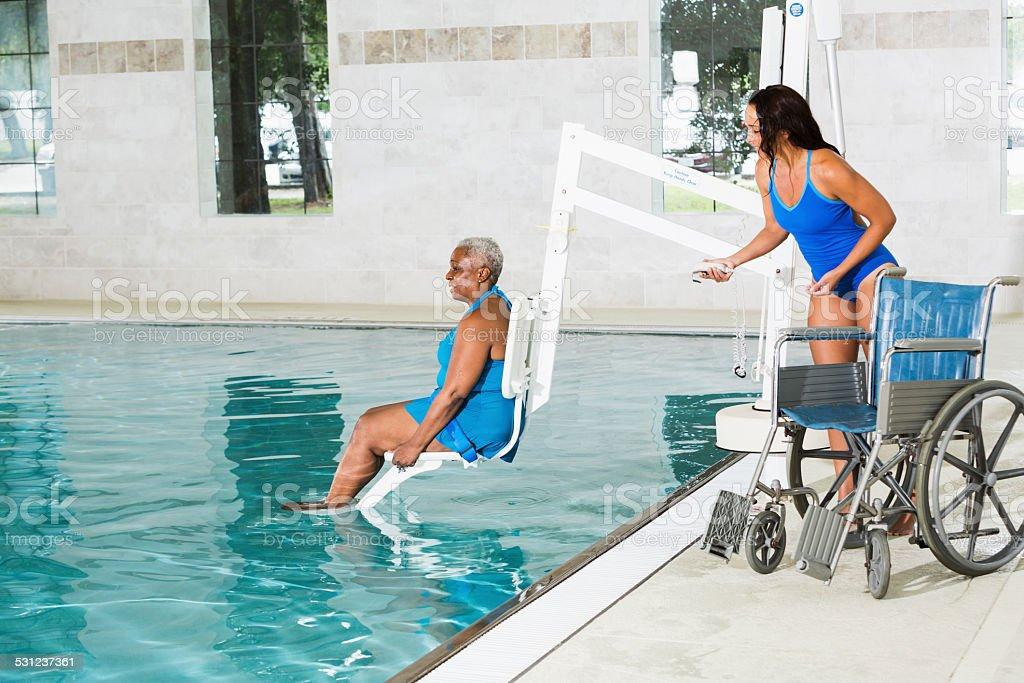 Hydrotherapy treatment for African American patient stock photo
