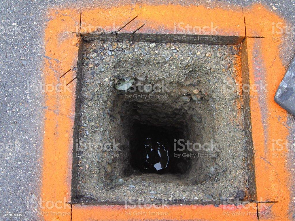 Hydrovacuum Borehole stock photo