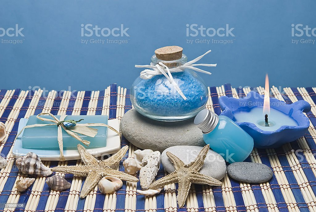 Hygiene and decorative items in blue. royalty-free stock photo