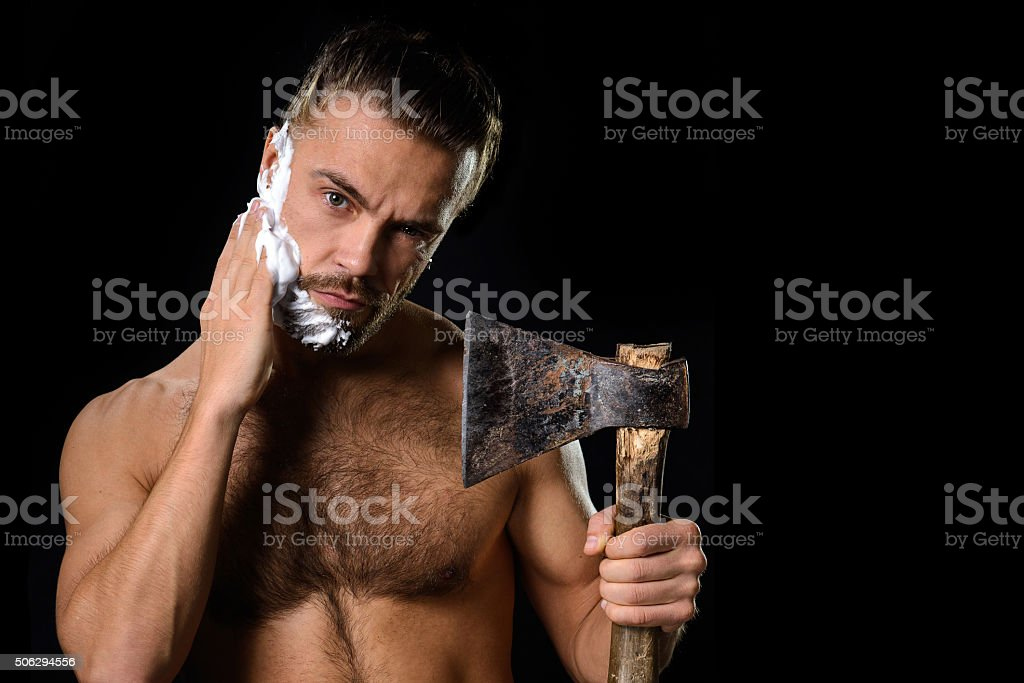 Hygiene axe man stock photo