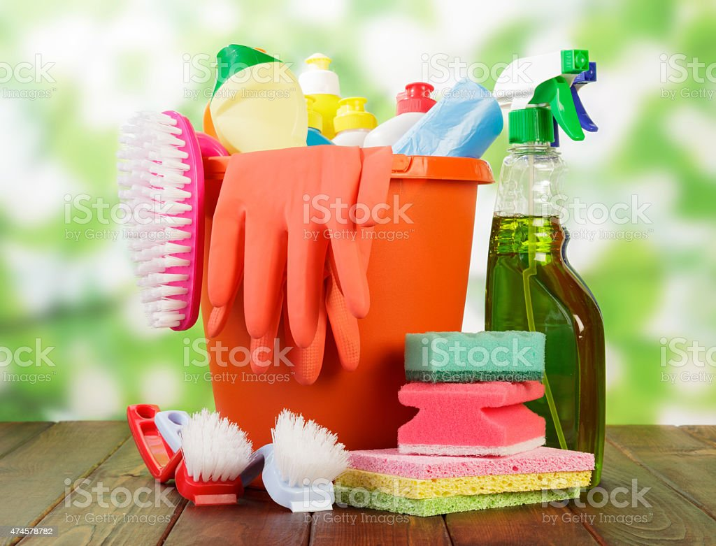 Hygiene cleanser in bottles stock photo