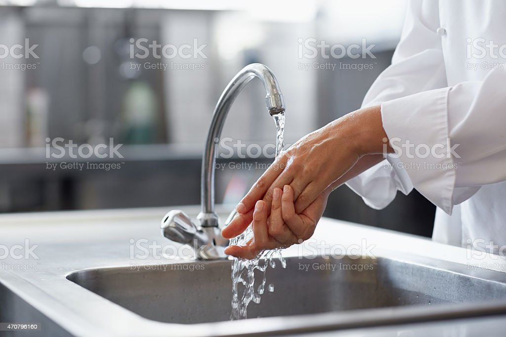 Hygiene comes first in this kitchen stock photo