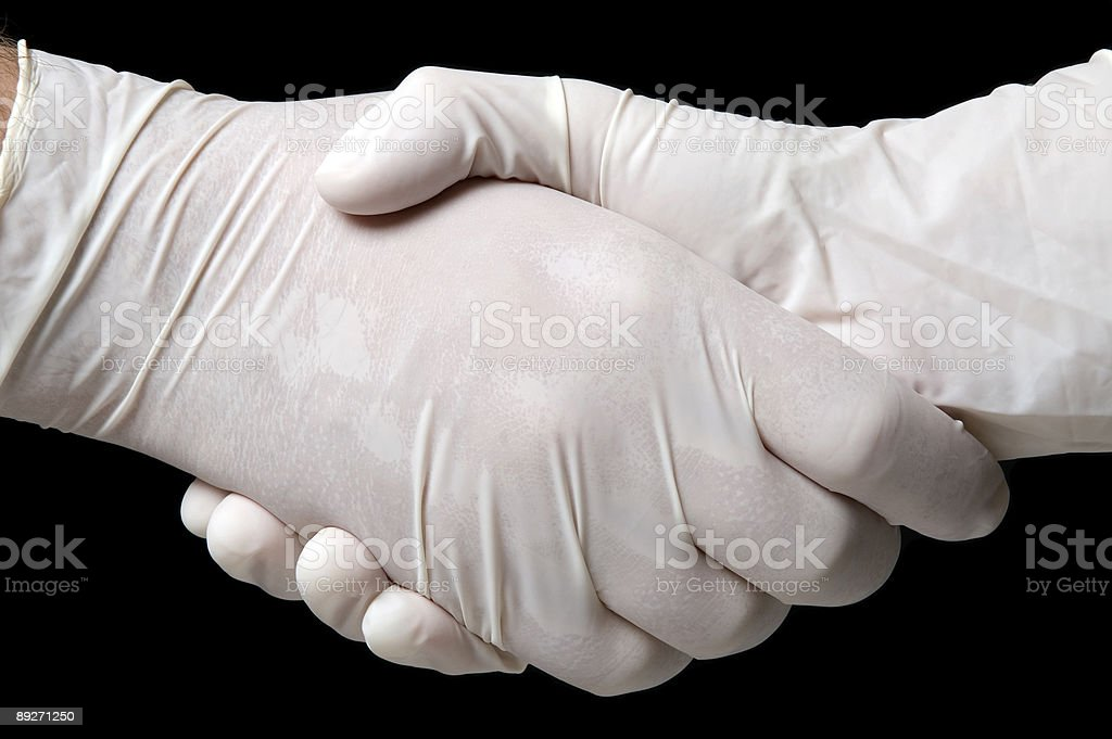 Hygienic handshake royalty-free stock photo