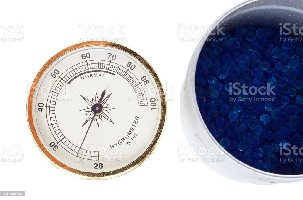 Hygrometer and desiccant stock photo