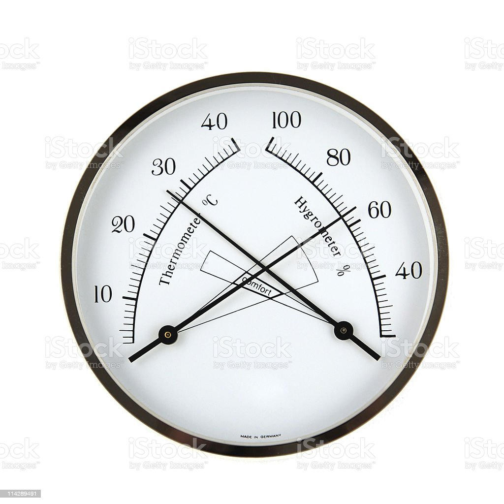 Hygrometer and Thermometer isolated stock photo